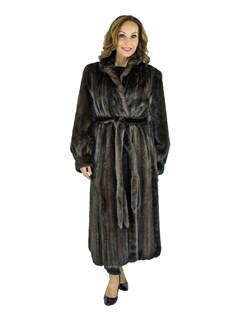 Woman's Dark Mahogany Female Mink Fur Coat with Fur Belt