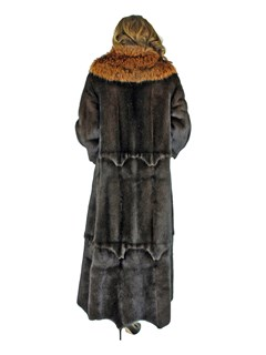 Woman's Mahogany Female Mink Fur Coat with Large Fox Collar