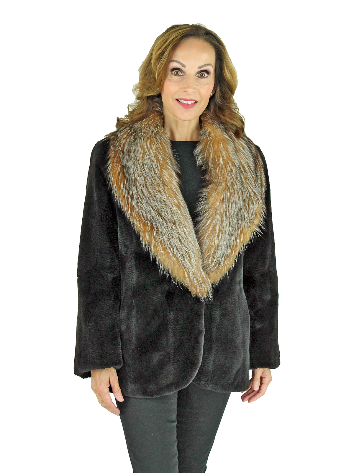 Woman's Brown Sheared Mink Fur Jacket with Crystal Fox Collar