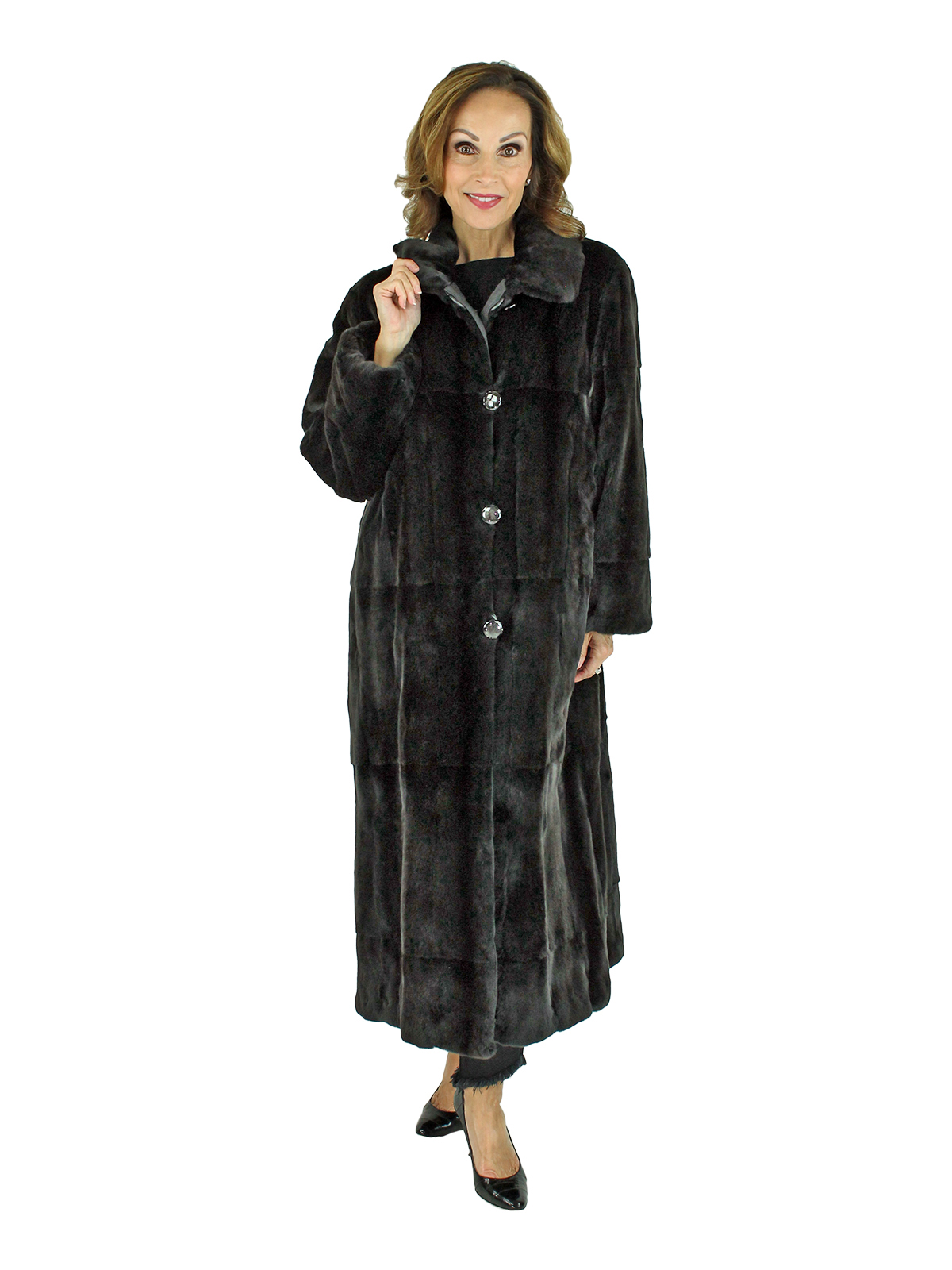 Woman's Ultra Light Black Sheared Mink Fur Coat