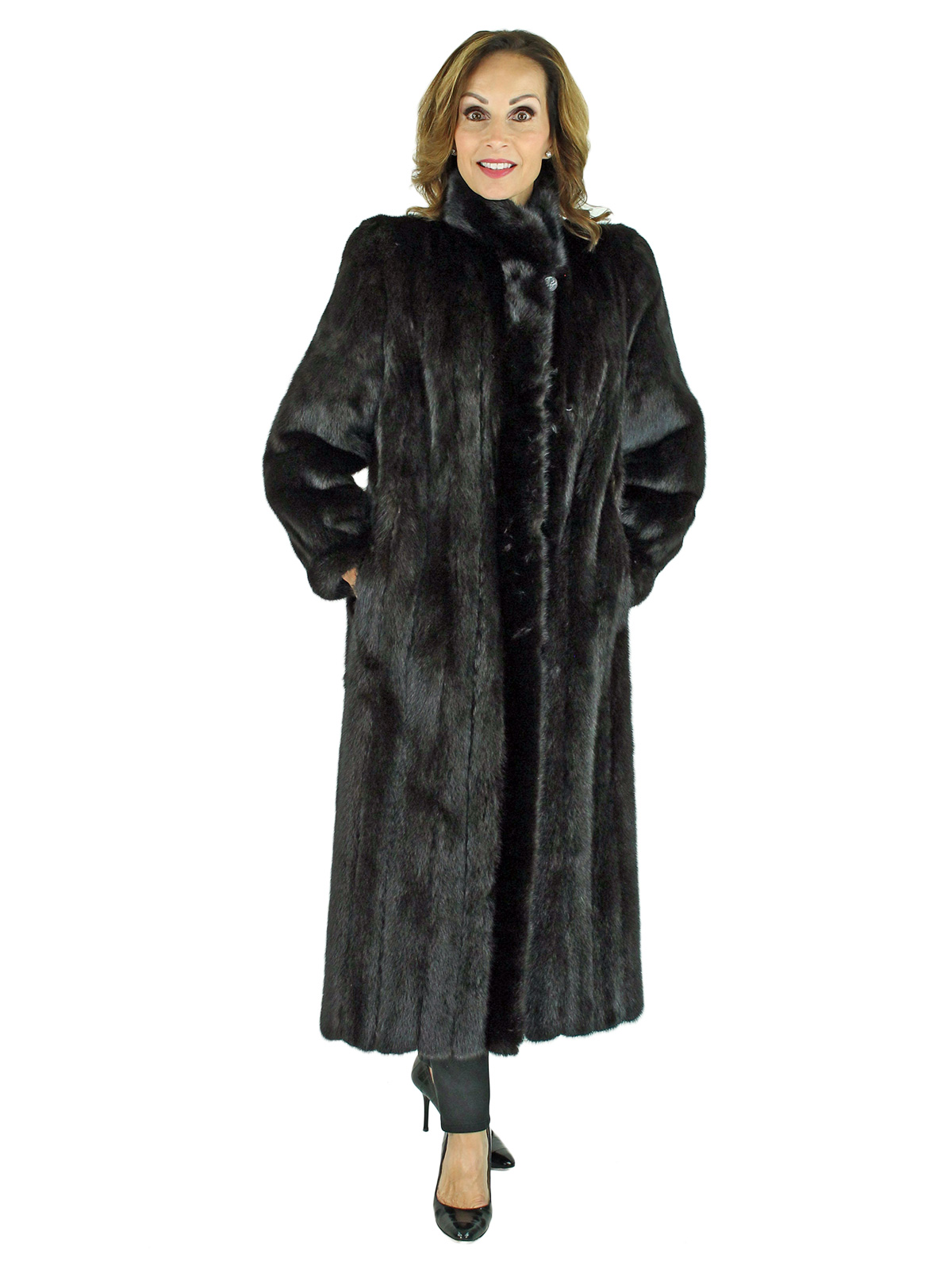 Woman's Ranch Mink Fur Coat with Fur Up Detail
