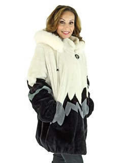 Woman's Three Color Sheared Beaver Fur Parka