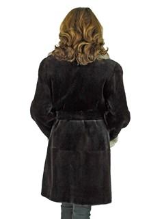 Woman's Black Sheared Mink Fur 3/4 Coat with Chinchilla Collar and Cuffs