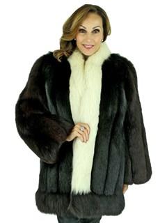 Woman's Black and White Fox Fur Stroller