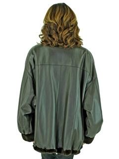 Woman's Dark Brown Sheared Mink Fur Jacket Reversing to Leather