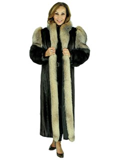 Woman's Ranch Mink Fur Coat with Crystal Fox Tuxedo Front and Fox Sleeves