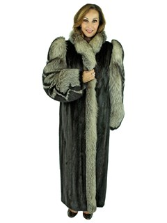 Woman's Ranch Mink Fur Coat with Indigo Fox Tuxedo Front and Fox Sleeves