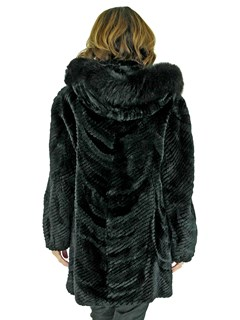 Woman's Black Sheared Beaver Fur Stroller with Detachable Fox Trimmed Hood
