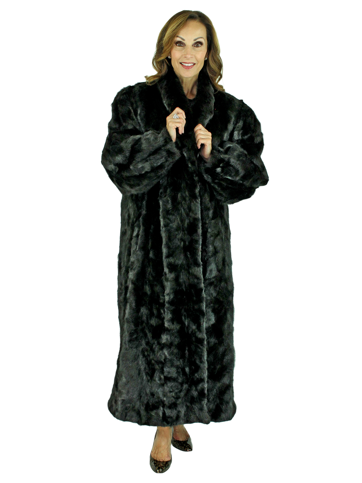 Woman's Black Sectioned Mink Fur Coat