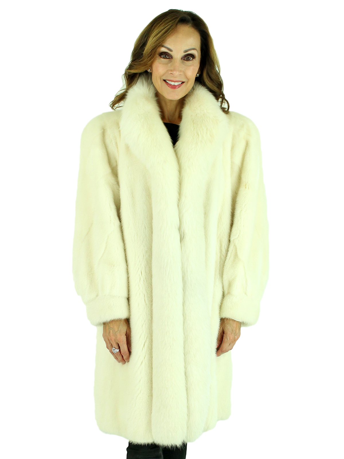 Woman's White Mink Fur Stroller with Shadow Fox Tuxedo Front