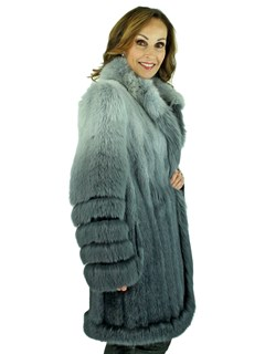 Woman's Grey Degrade Mink Fur Stroller with Fox Trim