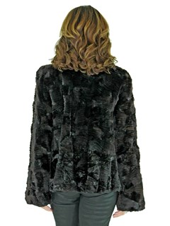 Woman's Black Sheared Mink Fur Jacket with Laser Grooving