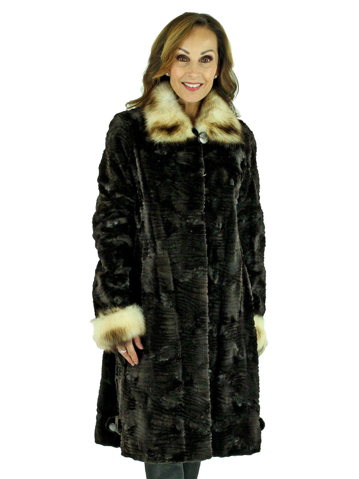 Woman's Dark Brown Sheared Mink Fur 3/4 Coat with Fitch Collar and Cuffs