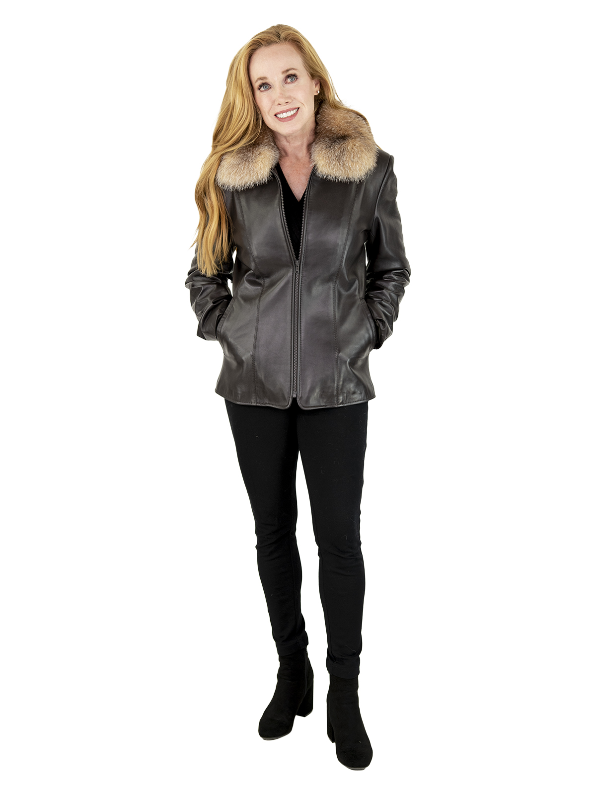 Woman's Brown Leather Zipper Jacket with Fox Collar