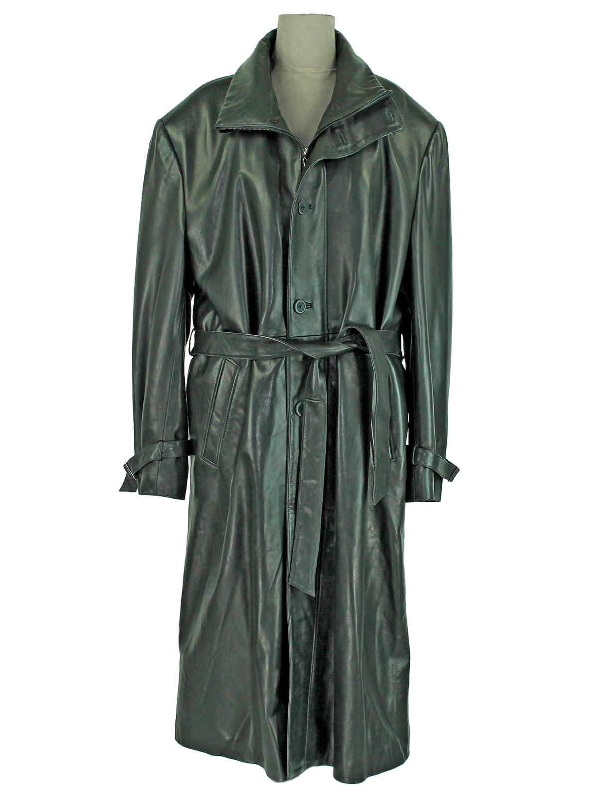 Man's Full Length Black Leather Coat