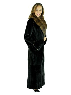 Woman's Laser Grooved Sheared Mink Fur Coat with Sable Collar