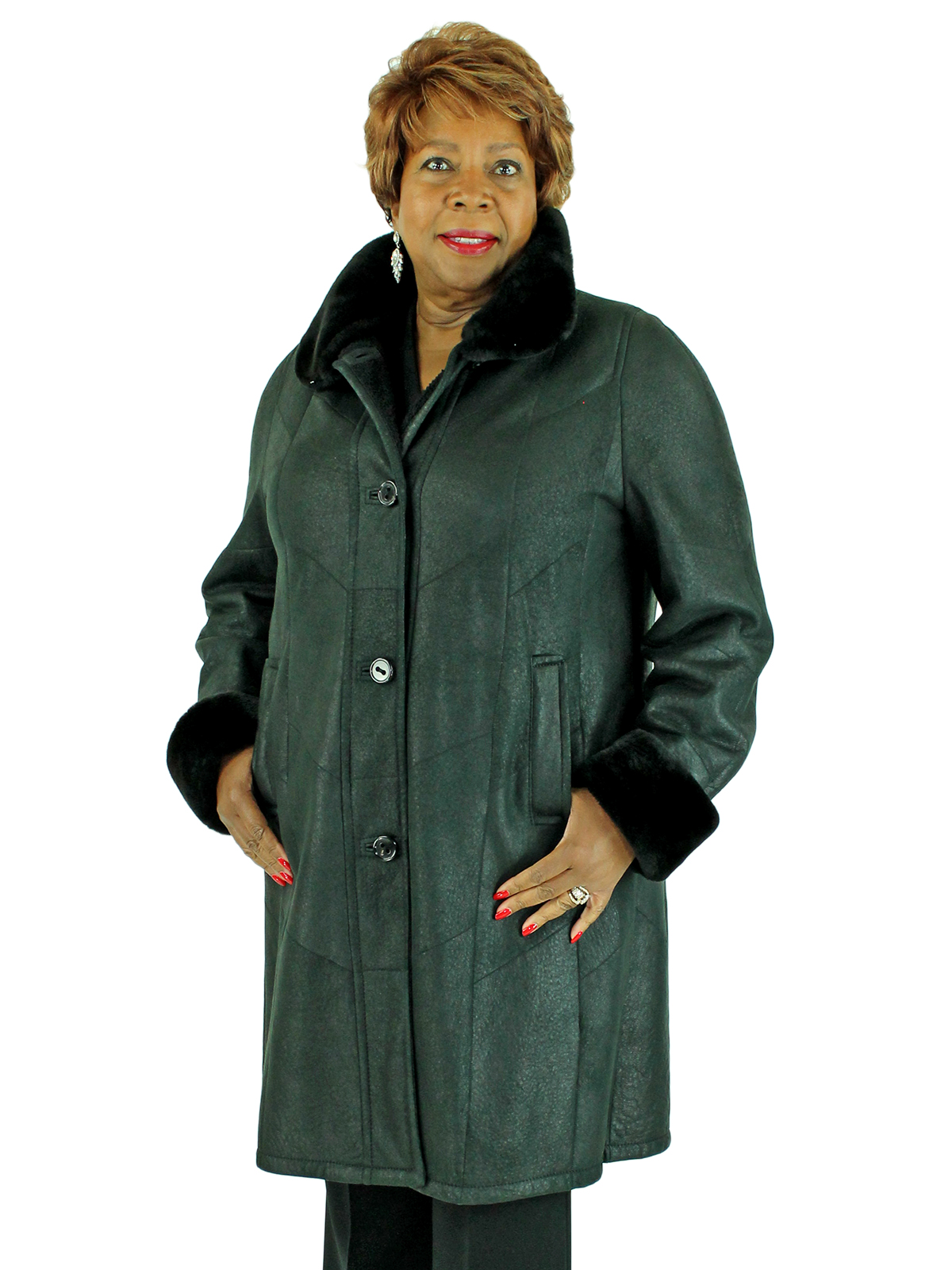 Woman's Black Christ Shearling Lamb 3/4 Coat with Sheared Nutria Fur Collar and Cuffs