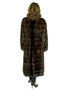 Woman's Horizontal Cut Mahogany Mink Fur Coat