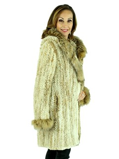 Woman's Two Tone Knit Sheared Beaver Fur Parka with Fox Trim