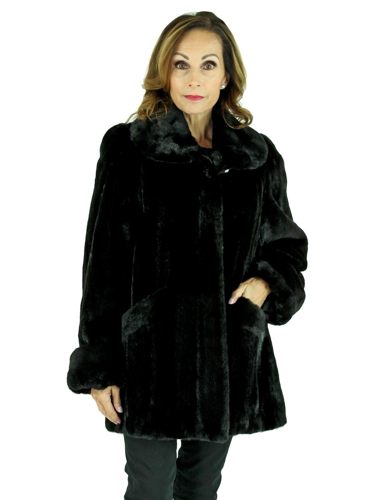 Woman's Black Semi-Sheared Mink Fur Jacket