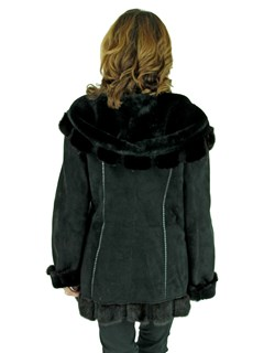 Woman's Black Suede Shearling Lamb Parka with Mink Trim