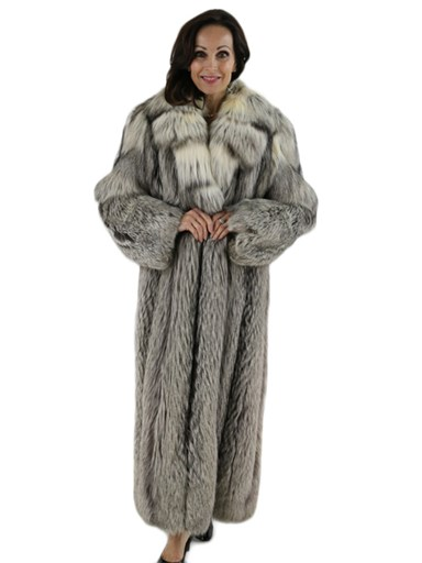 Silver Fox with Cross Cut Collar Fur Coat