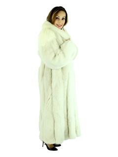 Woman's Blush Fox Fur Coat with Shadow Fox Trim