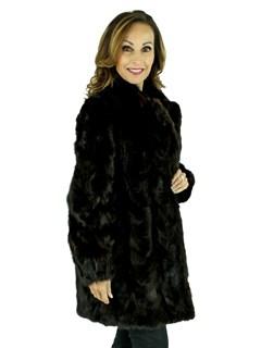 Woman's Dark Mahogany Sectioned Mink Fur Stroller