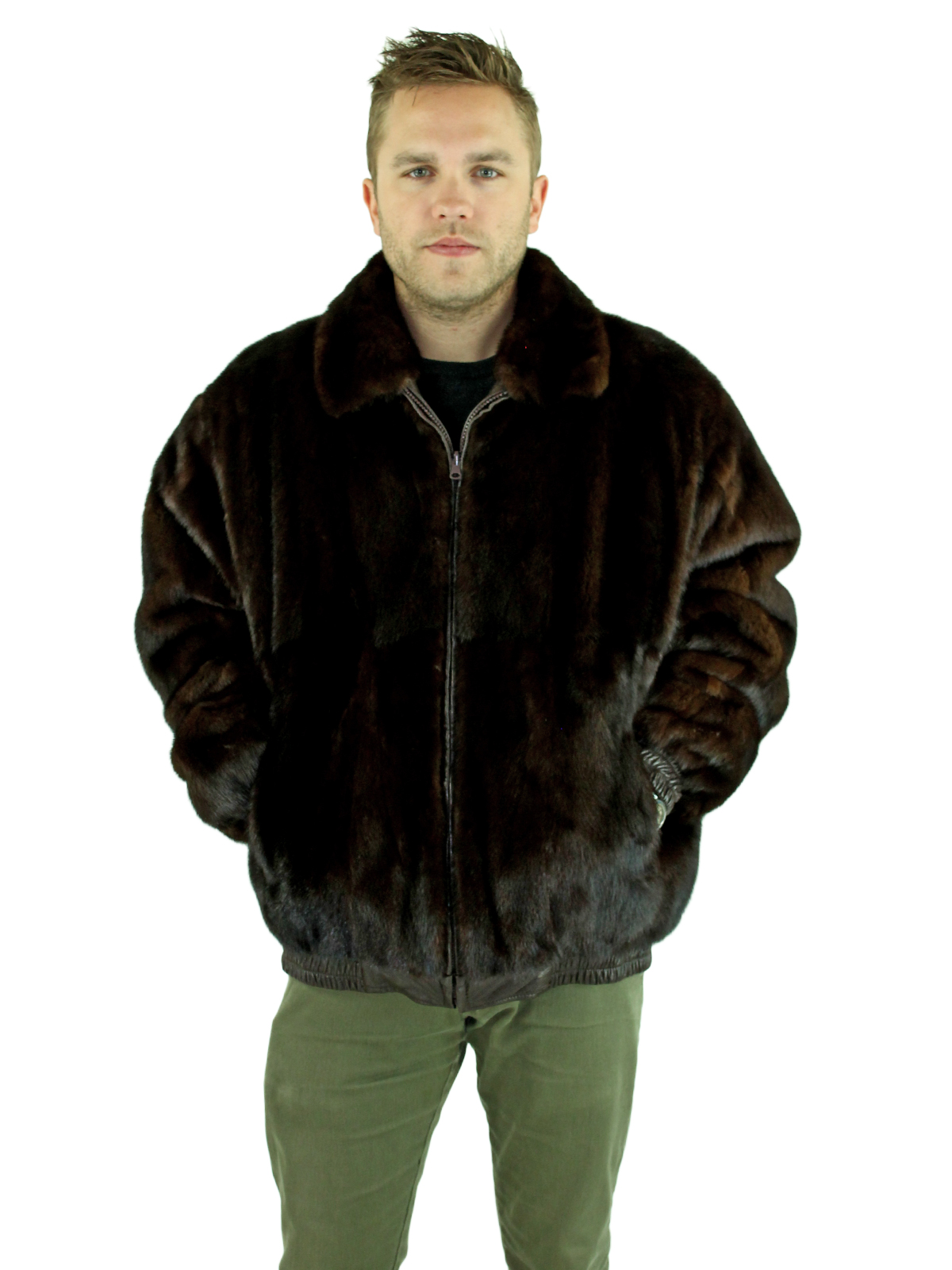Man's Dark Mahogany Mink Fur Bomber Jacket Reversing to Brown Leather