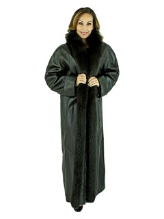 Woman's Dark Brown Lambskin Leather Coat with Fox Tuxedo Front