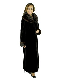 Woman's Brown Sheared Mink Fur Coat with Traditional Mink Collar and Cuffs