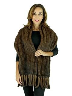Woman's Mahogany Knit Mink Fur Shawl