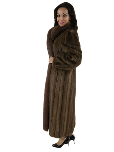 Pastel Mink Fur Coat w/ Matching Fox Tuxedo Front