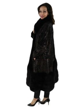 Embossed Leather Coat w/ Black Fox Fur