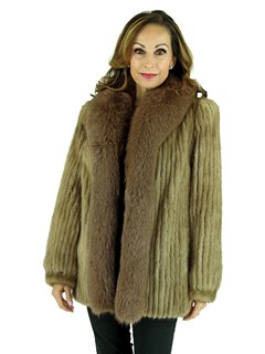 Woman's Cord Cut Pastel Mink Fur Jacket with Fox Tuxedo Front
