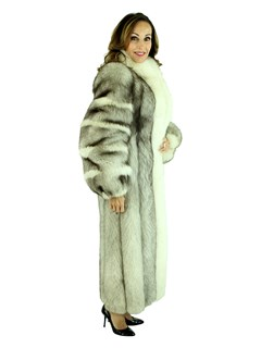 Woman's Blue Fox Fur Coat with Shadow Fox Tuxedo Front and Trim