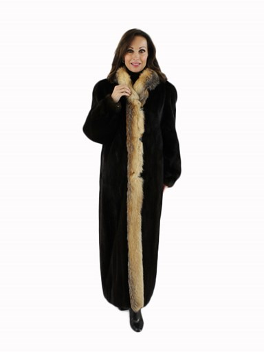 Mink Fur Coat with Crystal Fox Tuxedo