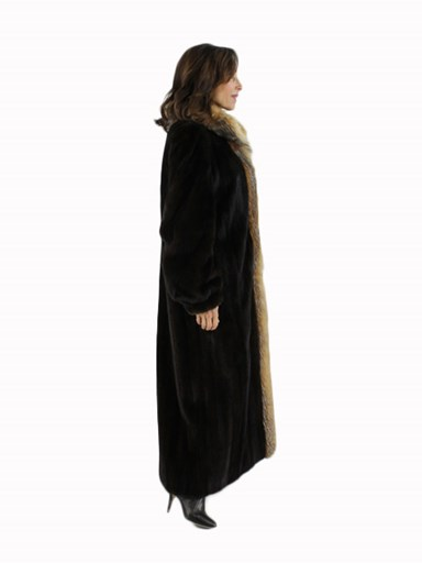 Mink Fur Coat with Crystal Fox Tuxedo