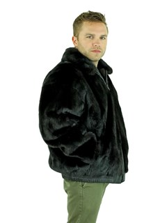 Man's Ranch Mink Fur Jacket Reversing to Black Leather