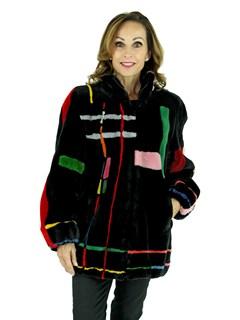 ZUKI Woman's Black Sheared Beaver Fur Jacket with Multicolored Geometric Design