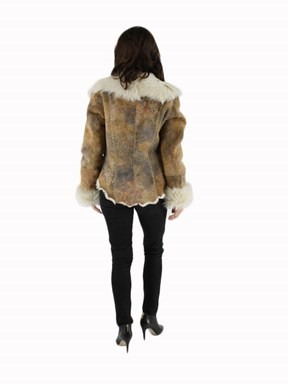 Shearling Lamb Fur Jacket w/ Embossed Leather