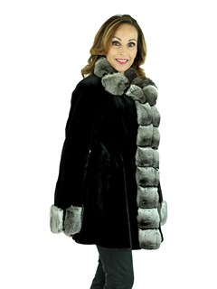 Woman's Black Sheared Mink Fur Stroller with Chinchilla Front, Collar, and Cuffs