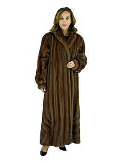 Woman's Demi Buff Female Mink Fur Coat with Directional Body