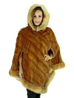 Woman's Whiskey Mink Fur Cape with Red Fox Trimmed Hood and Hemline
