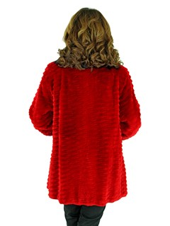 Woman's Red Sheared and Grooved Beaver Fur Jacket with Black Fox Trim