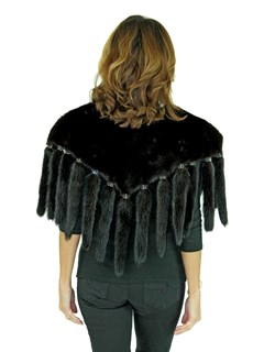 Woman's Ranch Mink Fur Collar with Mink Tail Fringe and Matching Headband