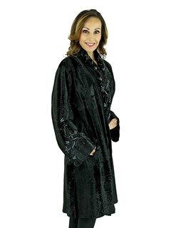Woman's Giuliana Teso Black Broadtail Lamb Coat with Extensive Beading