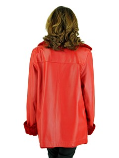 Woman's Red Leather Jacket with Reversible Red Sheared Mink Lining