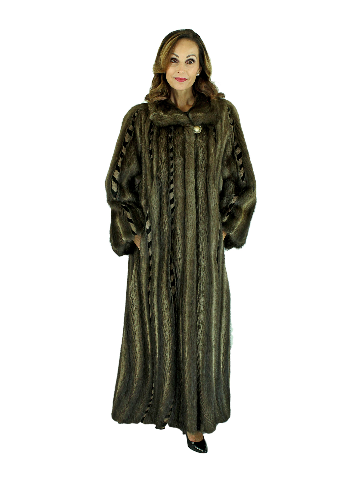 Woman's Muskrat Fur Coat with Directional Body