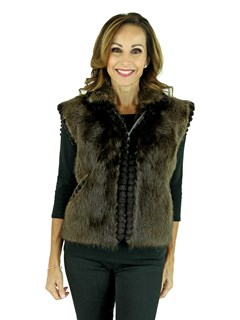 Woman's Long Haired Beaver Fur Vest with Sheared Beaver Trim
